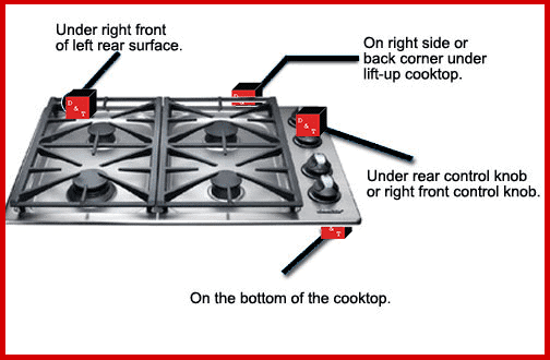 cooktop model number locator